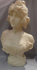 Antique marble bust of a maiden signed Edouard Drouot.