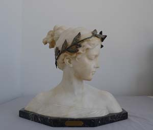 Poesie, antique carved white marble and gilt bronze mounted bust by Prof. Antonio Garella.