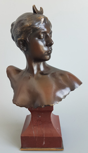 Antique French Art Nouveau bronze bust of Diana Signed by Alexandre Falguiere