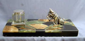 Superb chrome and bronze with decorated marble base art deco inkstand.