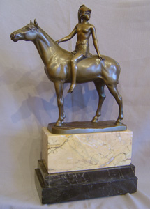 Art Deco bronze of an amazon on horseback on marble base.