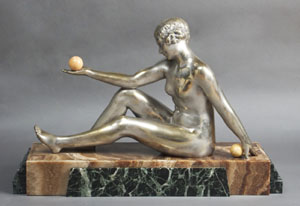 Art deco silvered bronze on fine marble base by Forestier.