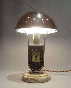 Mofem, Art Deco lamp with alarm clock.