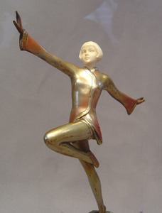 Lorenzl Art Deco ivory and cold painted bronze dancer.