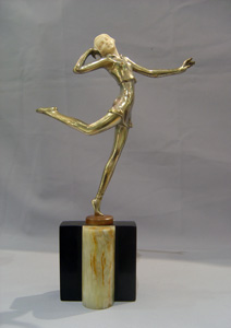 Art Deco figure in bronze and ivory, cold painted, signed Lorenzl of a dancer