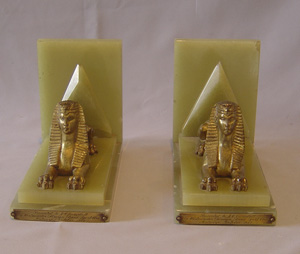 Pair of Art Deco Egyptian revival green onyx and gilt bronze Sphynx bookends.