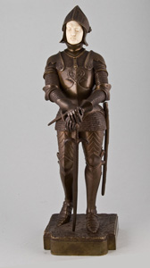 Art deco bronze and ivory knight in full armour.