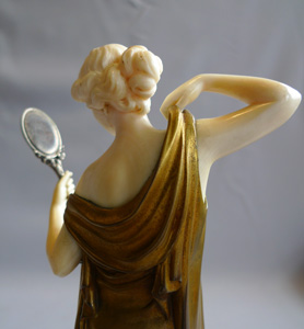 Ferdinand Preiss Art Deco bronze and ivory of Vanity with mirror.