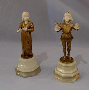 Art Deco bronze and ivory figures signed H Keck.