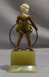 Art Deco bronze and ivory Hoop Girl after Preiss.