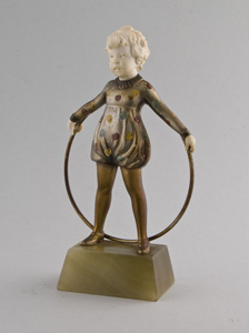 Art Deco bronze and ivory Hoop Girl.