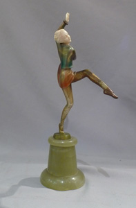 Lorenzl Art Deco bronze and ivory dancing girl.
