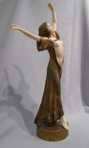 Art Deco bronze and ivory figure of oriental dancer signed G Omerth.