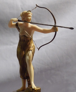 Art Deco bronze and ivory figure on marble base by Morin.