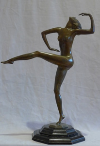 Art Deco bronze of a dancer signed in the bronze Felix Weiss and dated 1930.