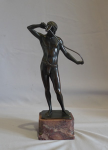 Art Deco bronze by Ludwif Eisenberger of man in a loin cloth with a rapier.