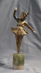 Art Deco bronze and ivory ballerina signed in the bronze Omerth.