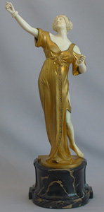 Bronze and ivory Art Deco figure of a dancer on antique vert marble base signed  Brandel