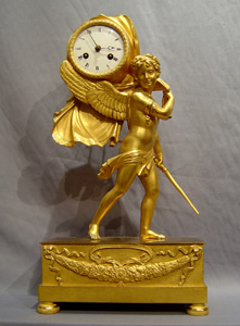 Antique French Empire ormolu clock of Cupid Carrying Time with Royal connections.