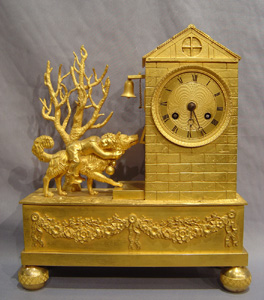 Antique French Empire ormolu automaton clock of the dog Barry.
