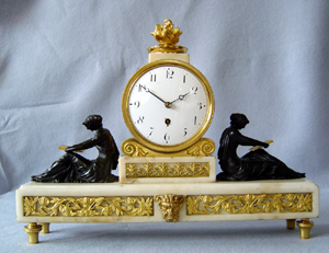 Antique English Regency neo-classical library clock by Grimalde and Johnson.