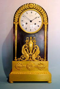 Antique French Empire Gilt & Patinated Bronze mantel clock by Ravrio