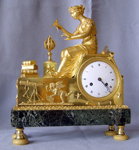 Antique French Empire clock of Astronomie designed by Jean-Andre Reiche in 1807.