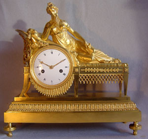 French clock of Empire period in ormolu after Madame Recamier.
