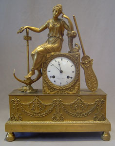 French Empire ormolu clock of Hope by Denniere and Matelin