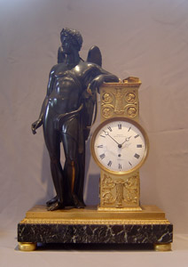 English Regency Neo Classical mantel clock of Genius of literature French, Royal Exchange, London.