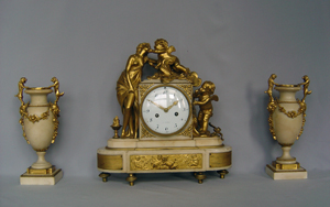 Antique Louis XVI French white marble and ormolu clock set signed Heron a Paris.