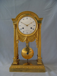 Antique French Empire ormolu mantel clock by Denisart a Paris.