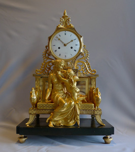 Fine French Directoire or Empire period ormolu clock of Venus and Cupid attributed to Claude Galle.