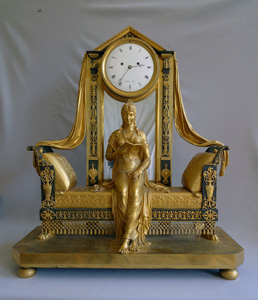 Antique French Empire mantel clock of Madame Recamier signed Vaillant