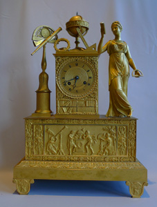 Antique French Empire mantel clock in ormolu of Astronomy