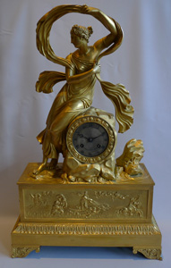 Antique French mantel clock in ormolu, Charles X period of Venus rising from the sea.
