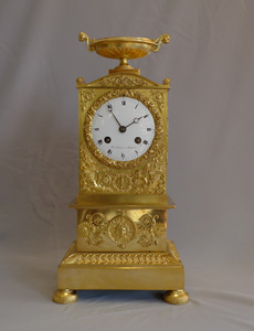 Antique French Empire ormolu clock signed Charles Oudin.