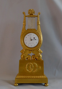 Fine antique French Empire miniature mantel clock in ormolu signed Breguet a Paris
