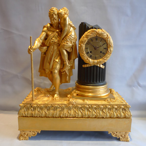 Antique ormolu mantel clock of large proportions and superb quality, Charles X period.