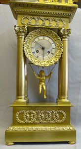 Automaton French Charles X portico clock of