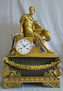 Antique French mantel clock Charles X  of Marcus Aurelius in ormolu and patinated bronze.