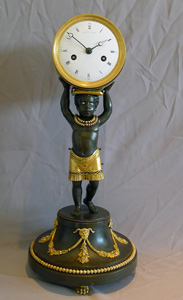 Antique French Blackamoor or  Pendule au Negre mantel clock.