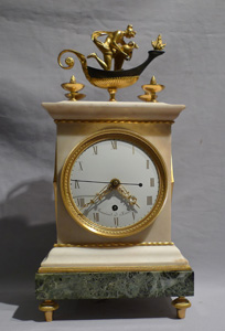 Antique English Regency Thomas Weeks Neo-classical marble and ormolu mantel clock