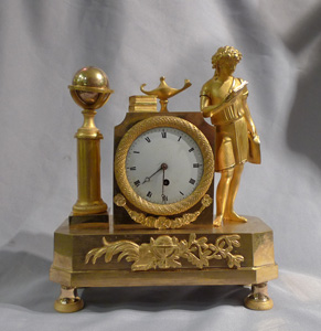 English Regency or French Directoire/Empire ormolu miniature library mantel clock.