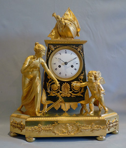 Antique French Empire ormolu mantel clock of Hope overcoming despair.