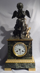 Antique French Romantic period antique vert marble, ormolu & patnated bronze clock with Cupid.