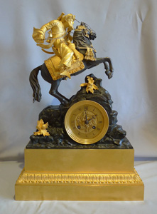 Antique French Greek Revolution mantel clock of Marmaluke on horse.