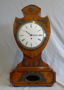 Antique Austrian Biedermier table clock in yew.