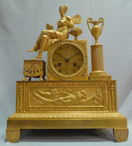 Antique ormolu French Charles X mantel clock of winged Psyche.