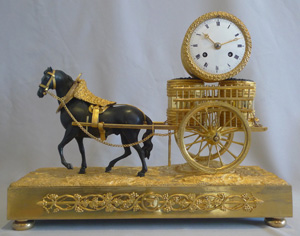 French Empire viticulture genre related mantel clock of horse pulling grapes